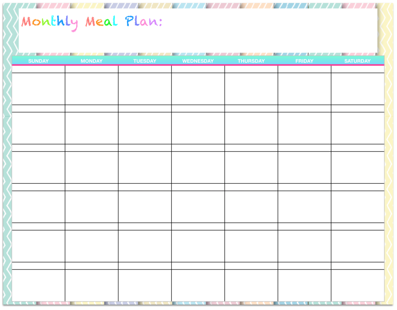 Free templates monthly menu planners the housewife modern for Monthly dinner calendar template