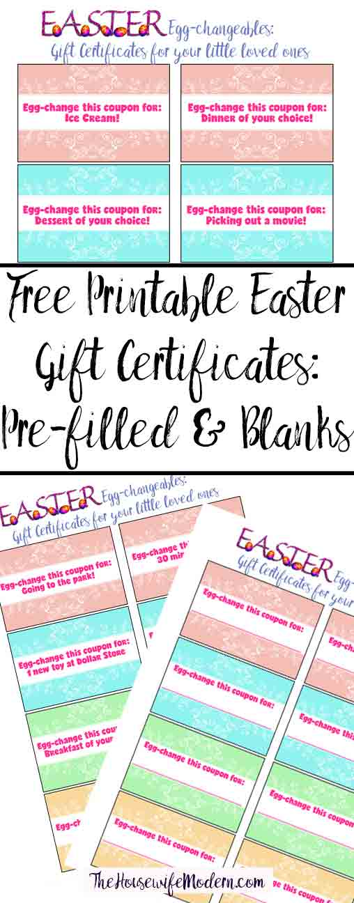 Free printable easter gift certificates for kids free printable easter gift certificates for kids pre filled certificates and blank ones you negle Choice Image