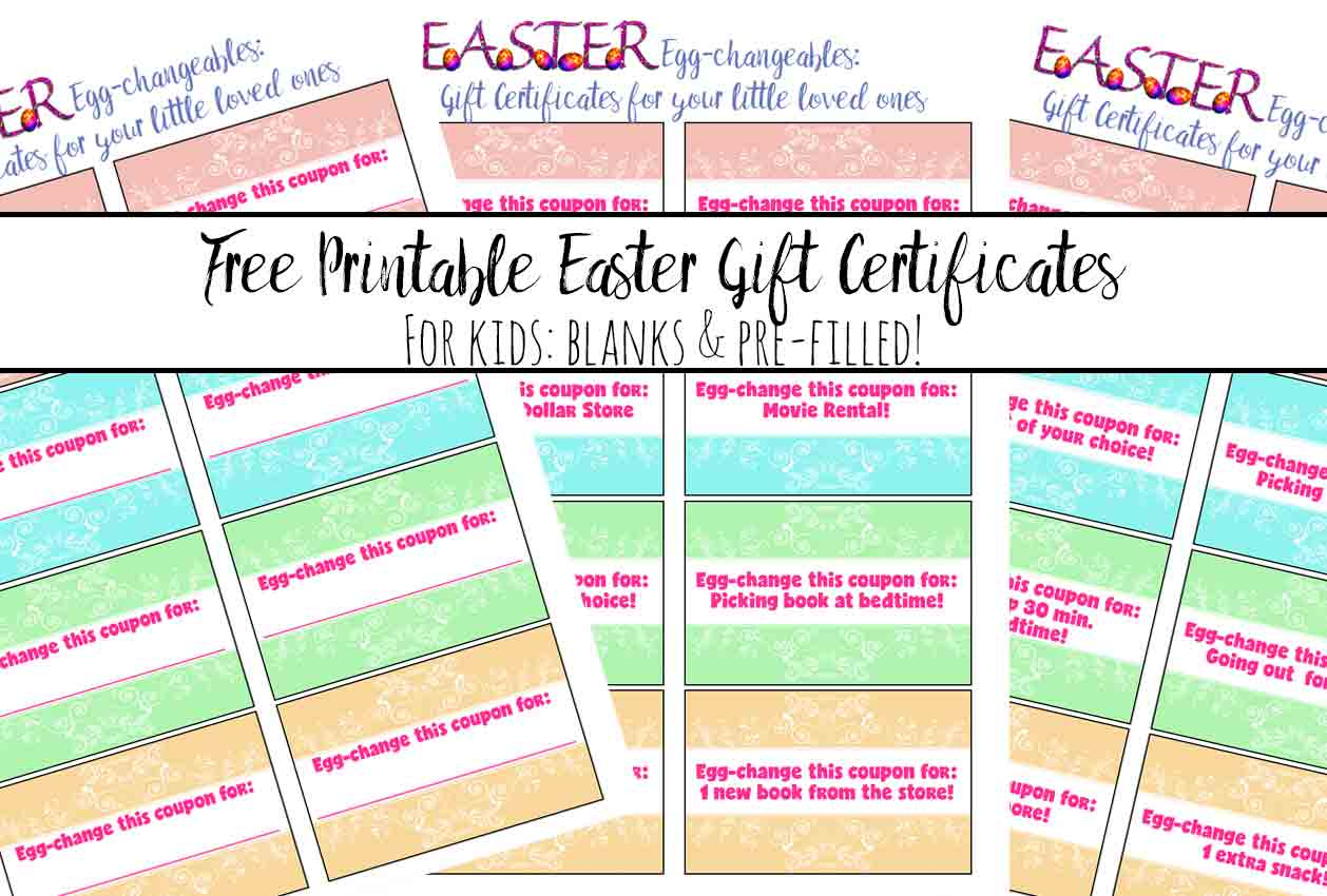 Free printable easter gift certificates for kids negle Choice Image