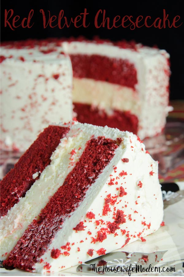 Layered Red Velvet and White Chocolate Cheesecake with White Chocolate Cream Cheese Frosting (aka: Red Velvet Cheesecake). The most delicious dessert you will ever make.#redvelvet #cheesecake #chocolate #whitechocolate #desserts #sweets #redvelvetcheesecake #valentines