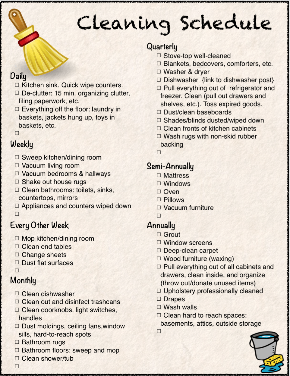 Free Printable: Cleaning Calendar and Checklist ~ The Housewife Modern