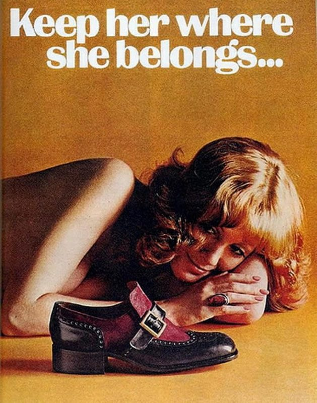 Sexist Vintage Ad: Keep her where she belongs. Apparently, at a man's feet.