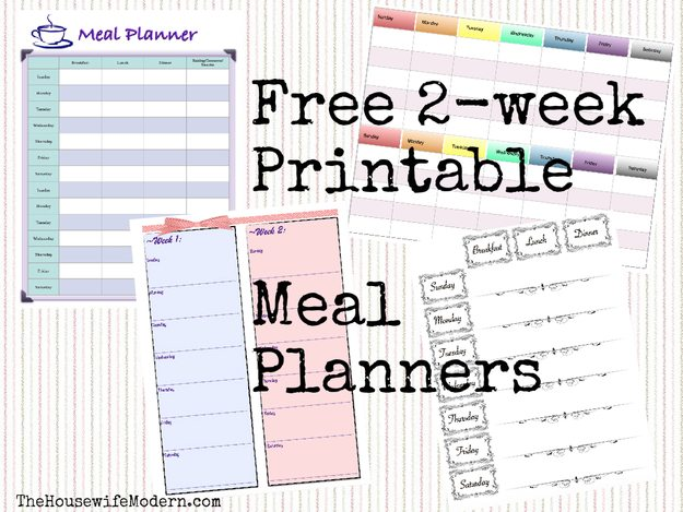 Free Printable 2-Week Meal Planners: 4 Different Designs