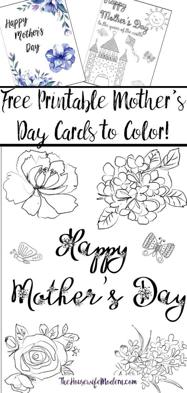 Free Printable Mother\'s Day Cards (some of them you can color!)