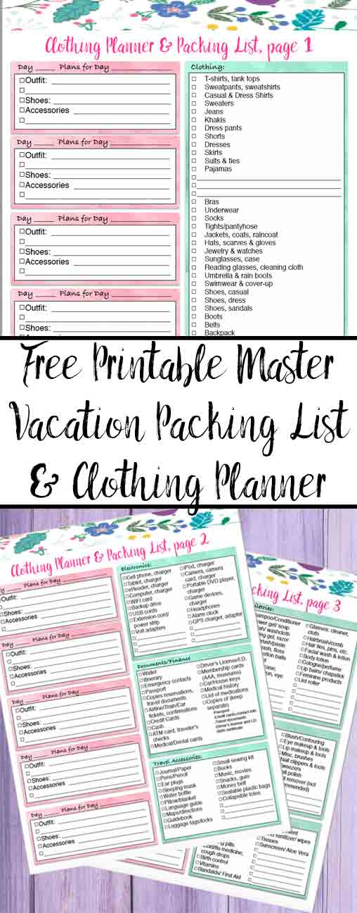 Free printable master vacation packing list and vacation clothing planner. Exhaustive packing list with everything you could possibly need.