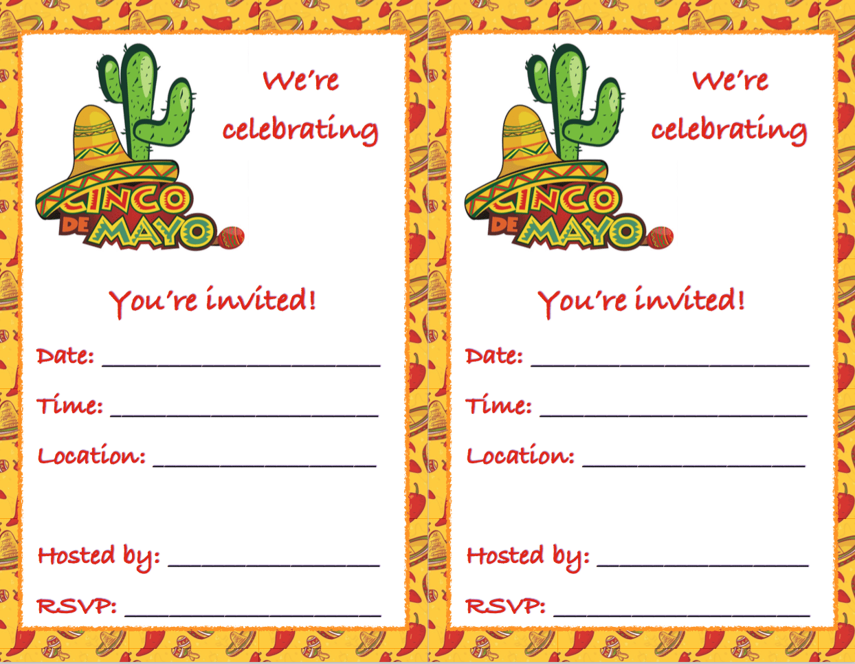 Free Printable Cinco de Mayo invitations: 2 different designs. Just fill in your party details!