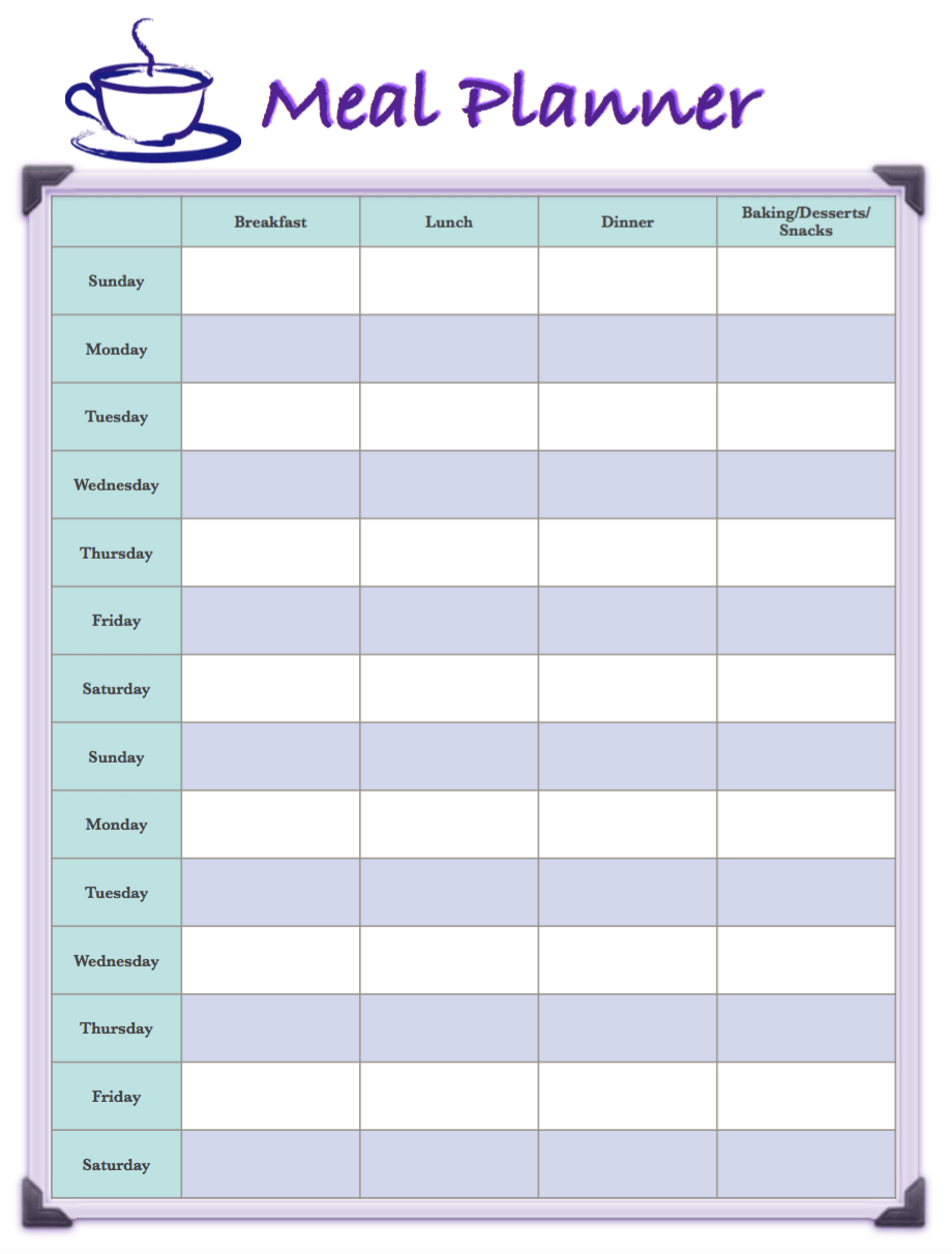 Meal planning saves time and money. Free printable 2-week meal planners. 4 different designs; available in multiple formats. And links to more printables!