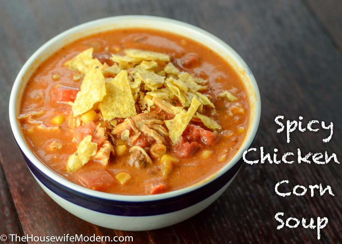 Spicy Chicken Corn Soup: shredded chicken, corn, spicy blend of spices ...