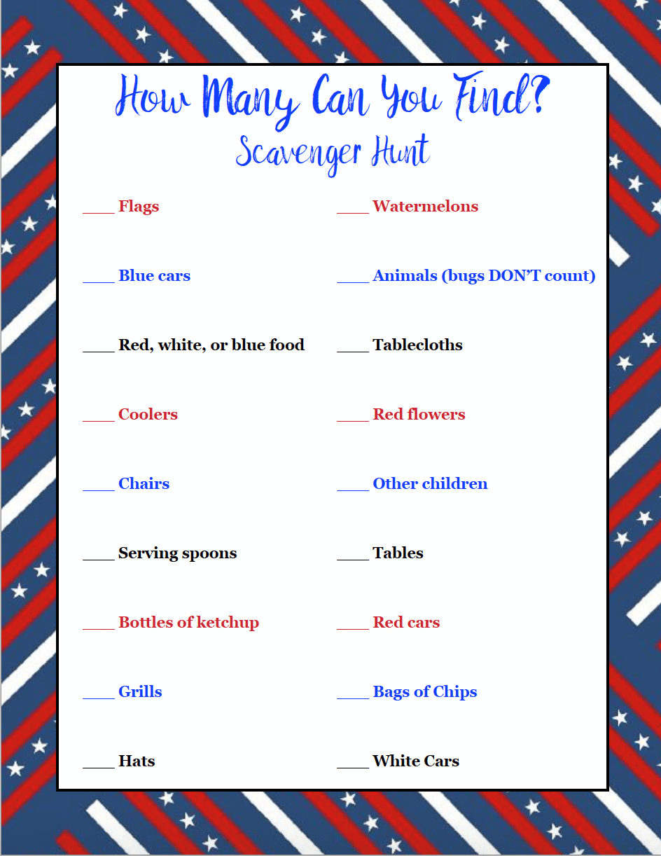 "2 Free Printable 4th of July Scavenger Hunts. One is ""find this""; the other is a ""how many can you find"". Just print, give to the kids, and let them loose."