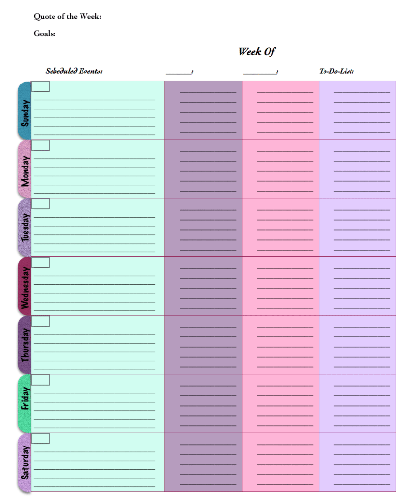 Free printable: Weekly planners, schedule, calendar. 4 different ...