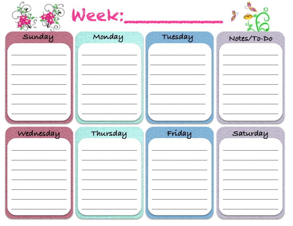 free printable  weekly calendars  planners  schedules