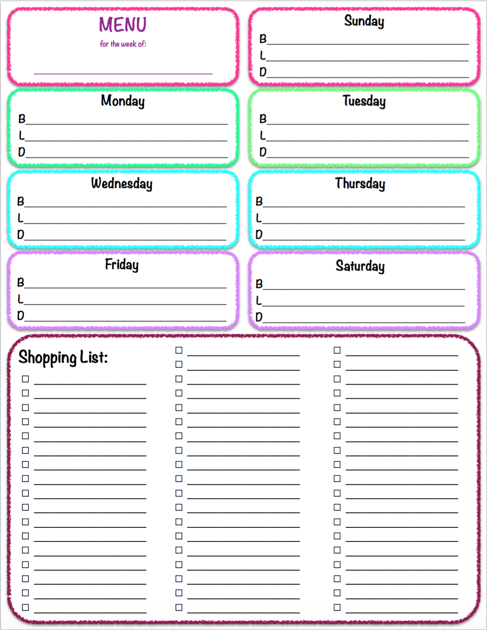 It is an image of Fan Printable Weekly Menu