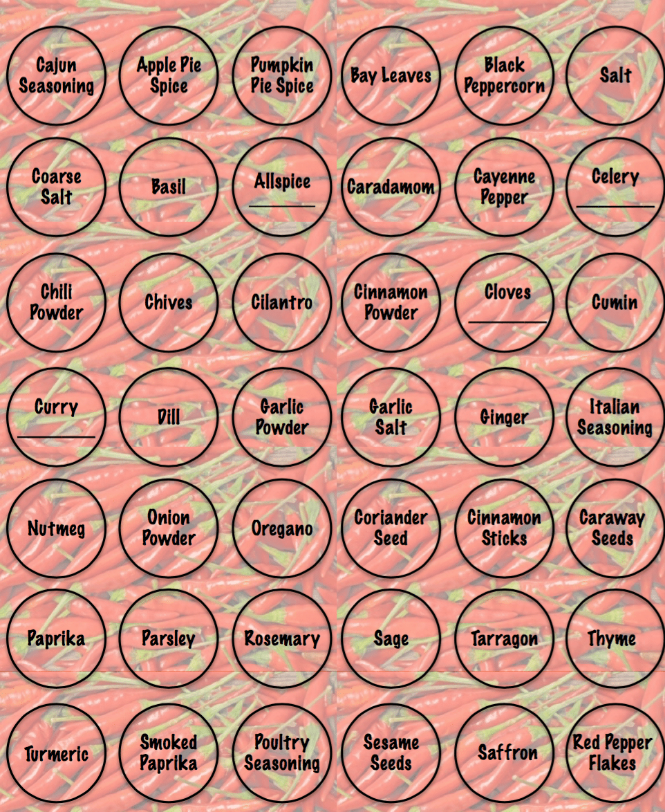 It's just a photo of Universal Printable Spice Jar Labels