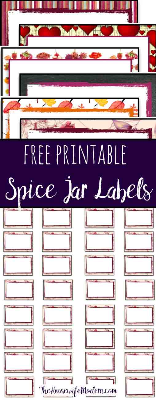 """Free Printable Labels: 6 different designs. Use for labeling spice jars, small containers, and more. 1.5"""" by 1"""" default design, but can adjust print size."""