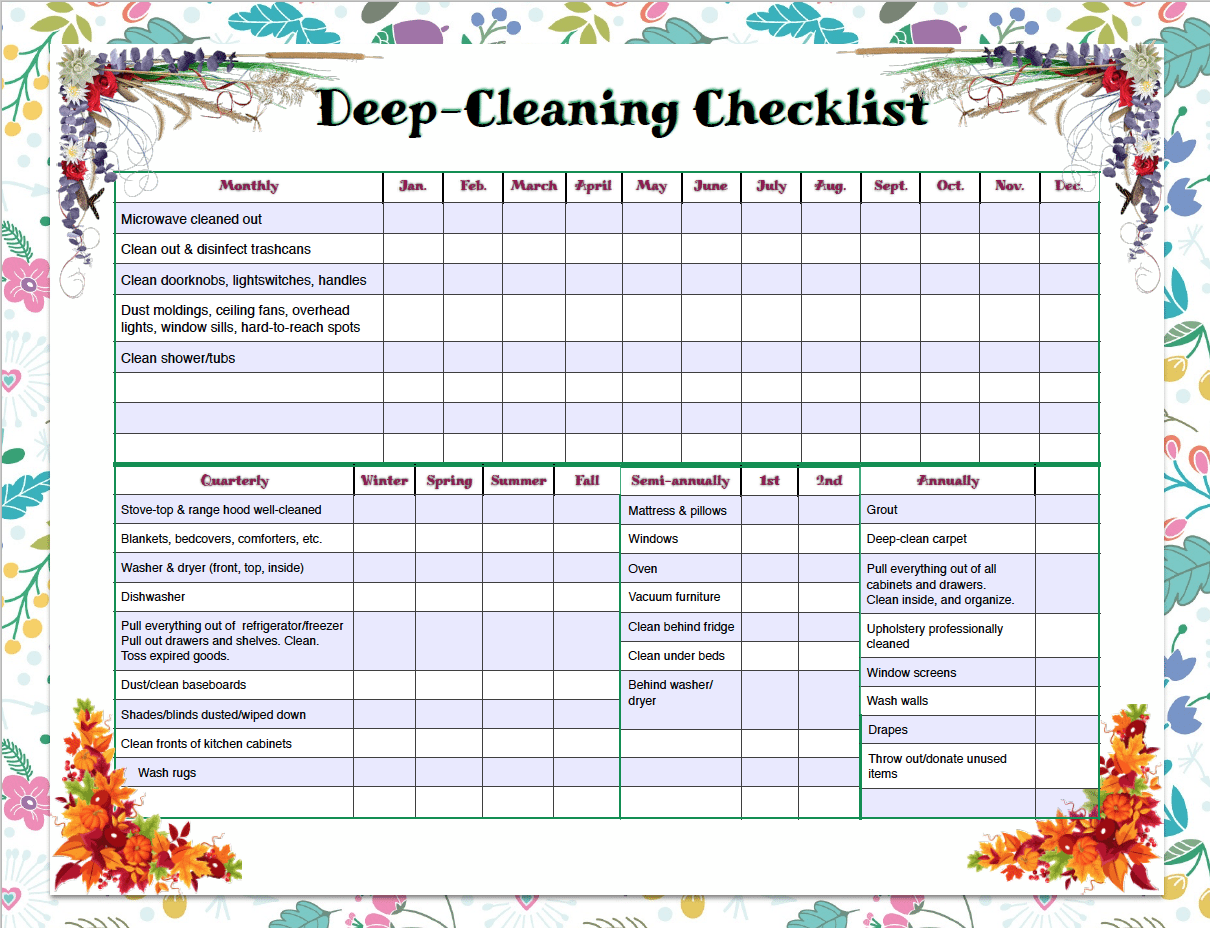 Free printable weekly cleaning & deep-cleaning checklists. Pre-filled out as well as blanks for you to customize. Great for kids' chores!