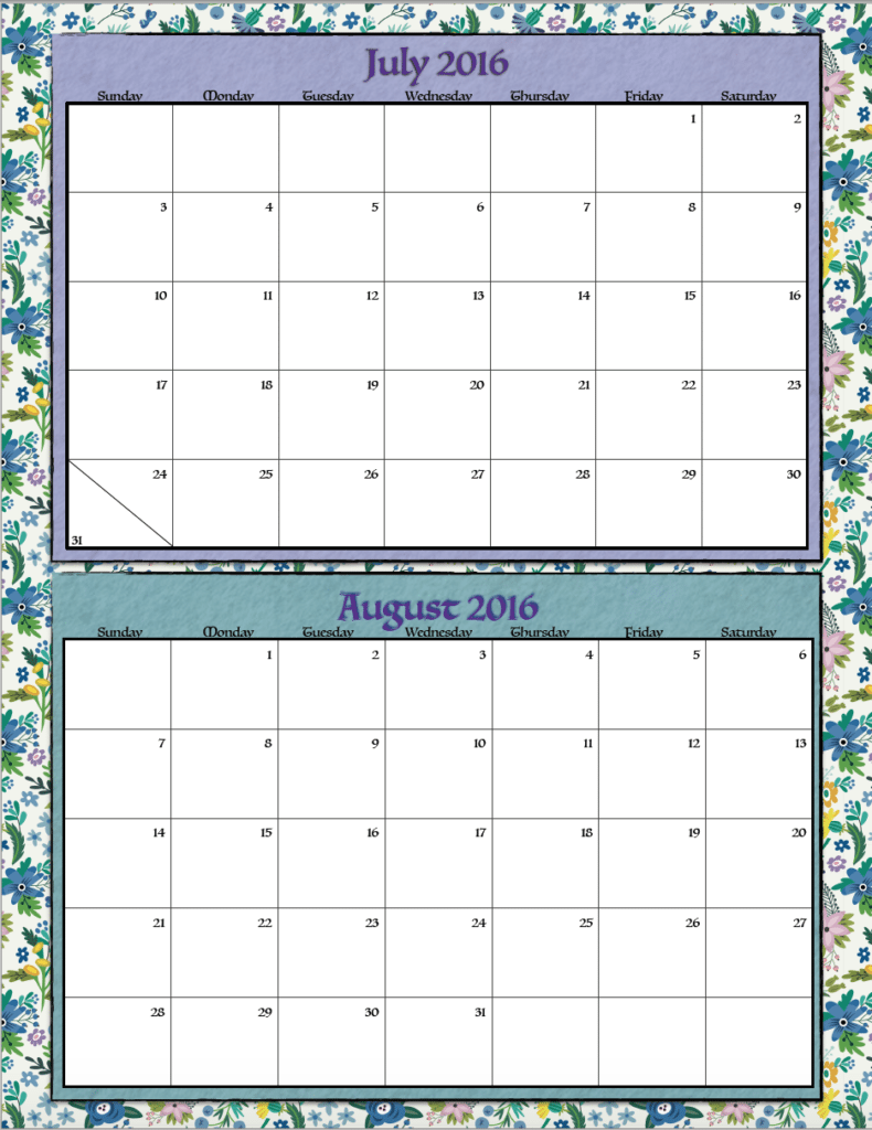 July Calendar Design : Free printable bimonthly calendars designs the