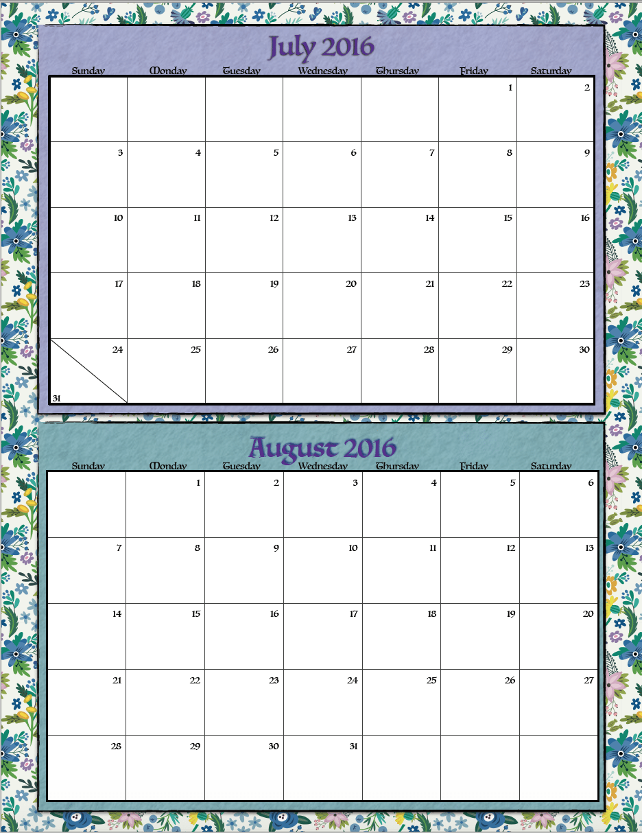 Calendar July August : Free printable bimonthly calendars designs the