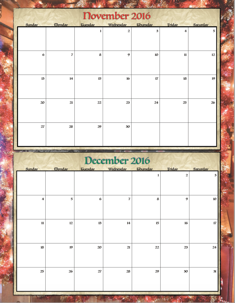 November Calendar Design : Free printable bimonthly calendars designs the