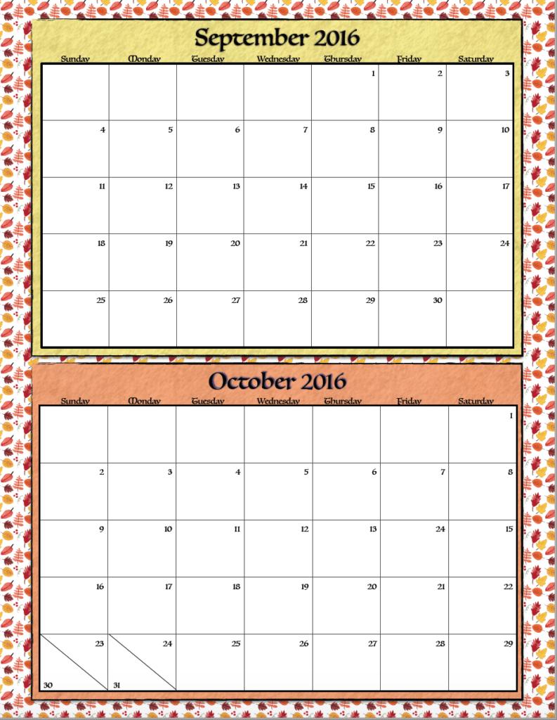 September & October 2016 Calendar