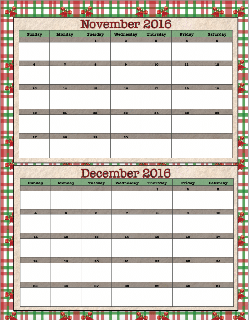 Free Printable Bimonthly 2016 Calendars: 2 designs ~ The Housewife ...