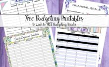4 FREE budgeting printables. Plan your monthly budget, make financial goals, and track your daily expenses. & Link to free budgeting binder!