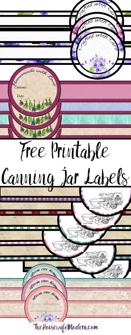 Free printable canning jar labels (band-type)! Multiple designs in multiple colors! Over 15 combinations.