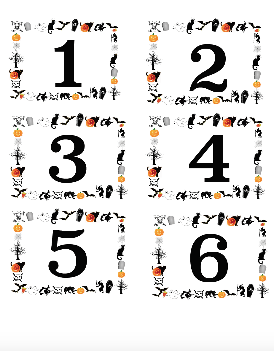 Free Printable Halloween Labels, numbered and blanks. Great for costume contests, pumpkin decorating contests, ice breakers, & more.