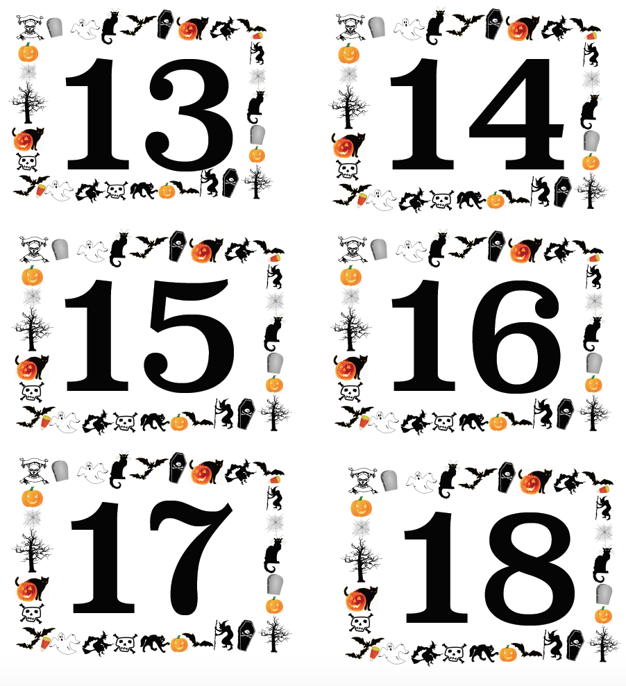 Free Printable Halloween Numbered Labels Plus Blanks. Great for costume contests, pumpkin decorating contests, food labeling, ice breakers, & more.