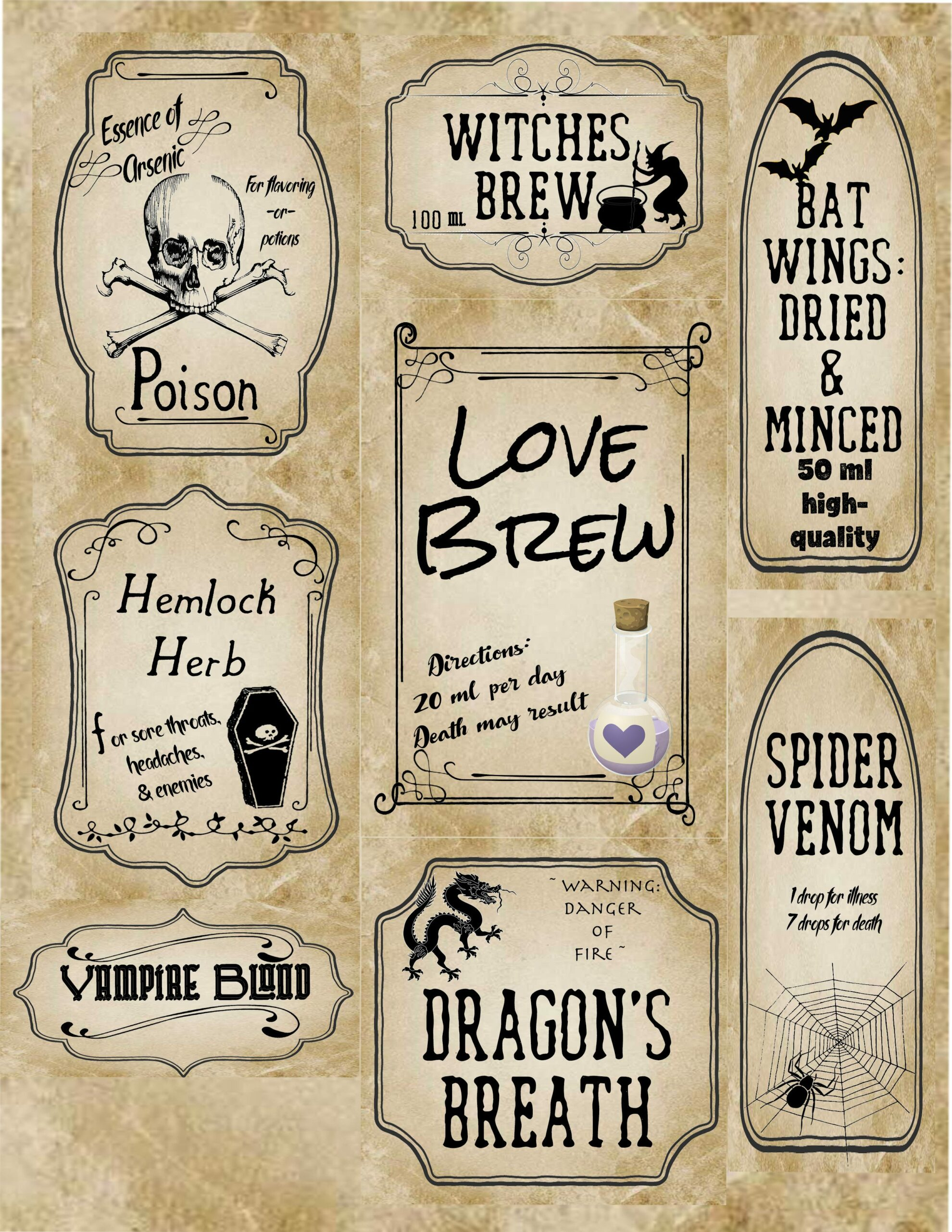 free printable halloween apothecary labels 16 designs plus designed blanks for any halloween need
