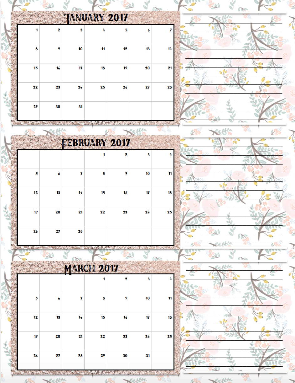 free printable 2017 quarterly calendars 2 different designs pick your favoriteplus links