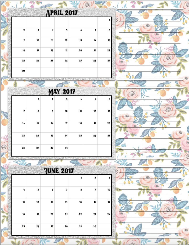 free printable 2017 quarterly calendars  2 different designs