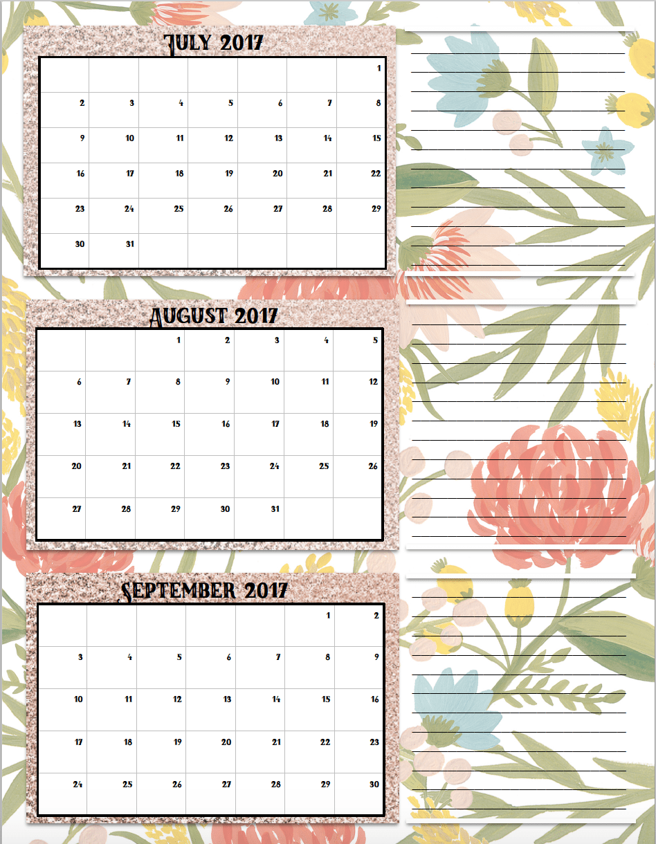 Free Printable 2017 Quarterly Calendars: 2 different designs