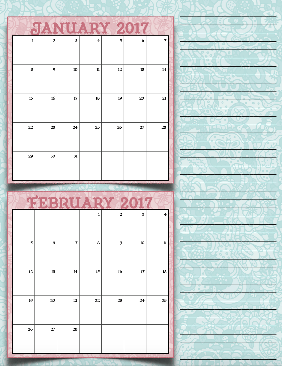 FREE Printable 2017 Bimonthly Calendars: 7 different designs! ~ The ...