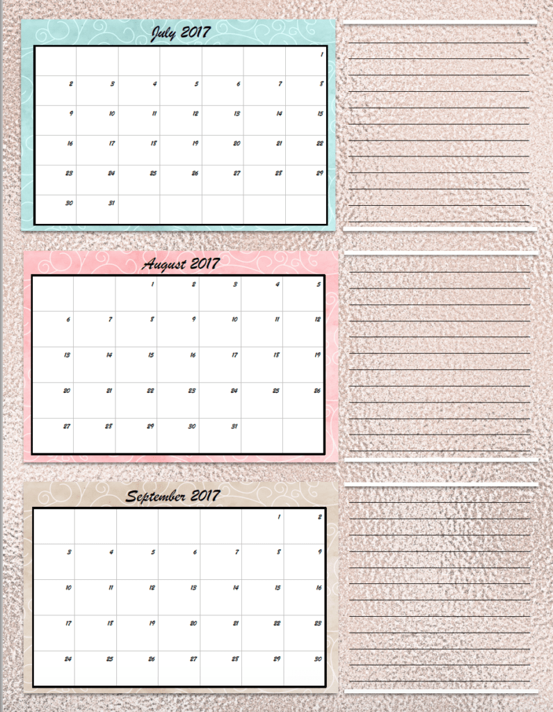 FREE Printable 2017 Quarterly Calendars: 2 different designs; pick ...