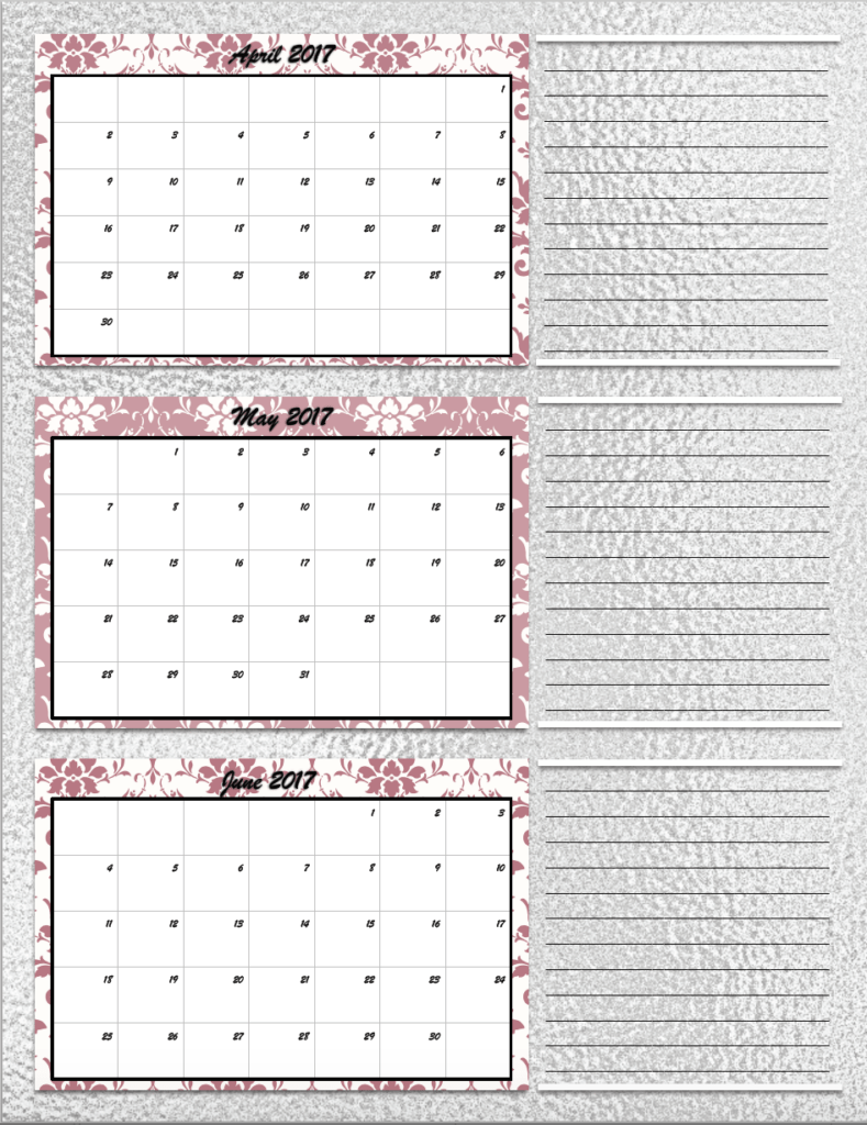 Quarterly Calendar Design : Free printable quarterly calendars different designs