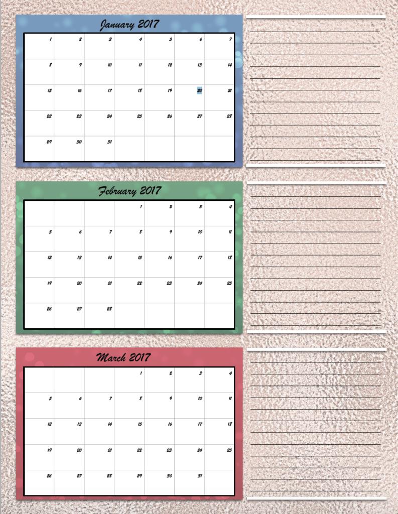 Free Printable 2017 Quarterly Calendars: 2 different designs