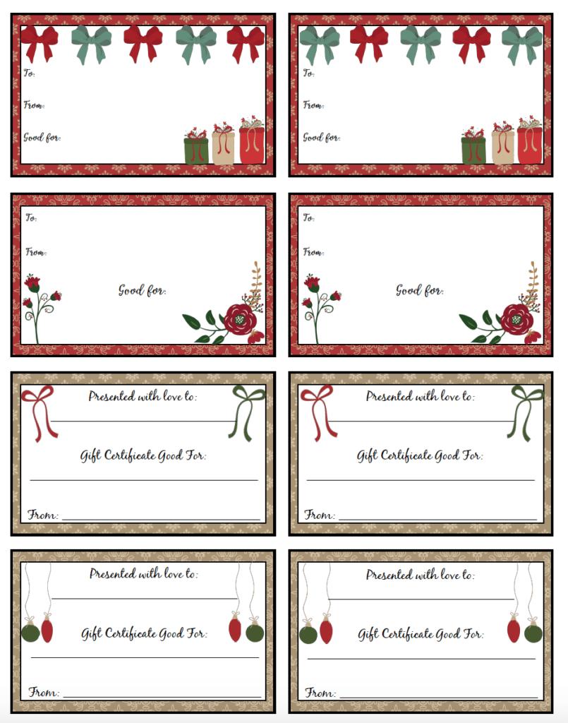 free printable christmas gift certificates 7 designs pick your favorites. Black Bedroom Furniture Sets. Home Design Ideas