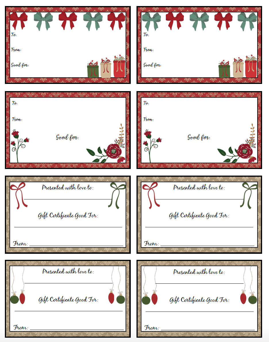 printable christmas gift certificates designs pick your printable christmas gift certificates 7 different designs fill out the perfect gift