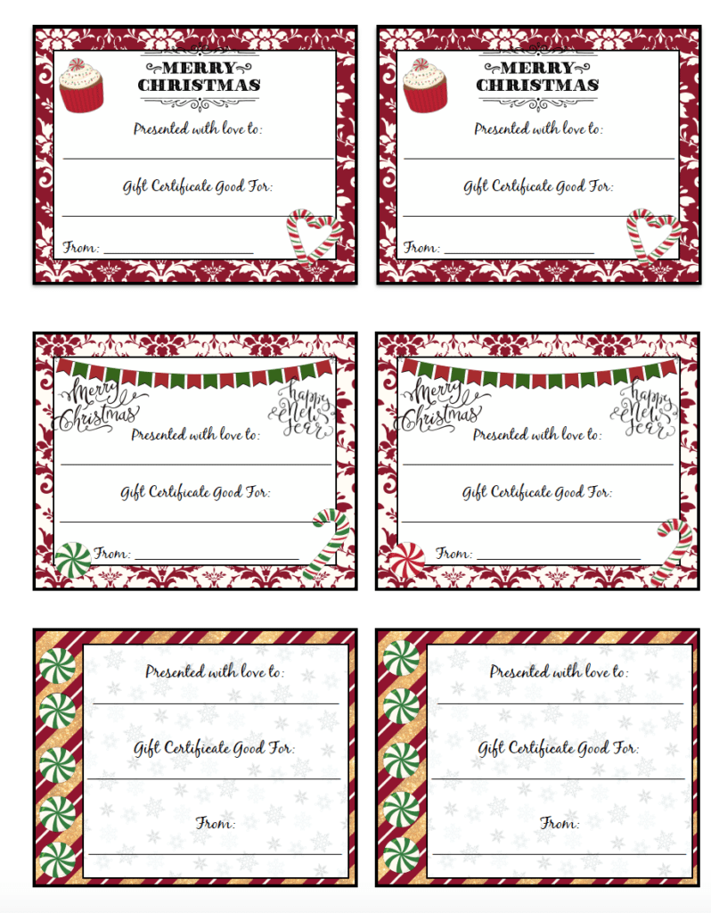 free printable christmas gift certificates  7 designs