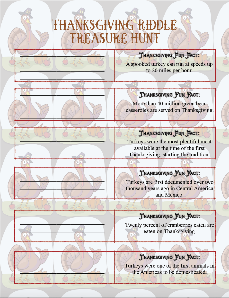 """FREE Printable Thanksgiving Riddle Treasure Hunt: 18 mix-and-match clues plus blanks to make your own! Includes """"fun facts"""" on every riddle to learn about Thanksgiving."""