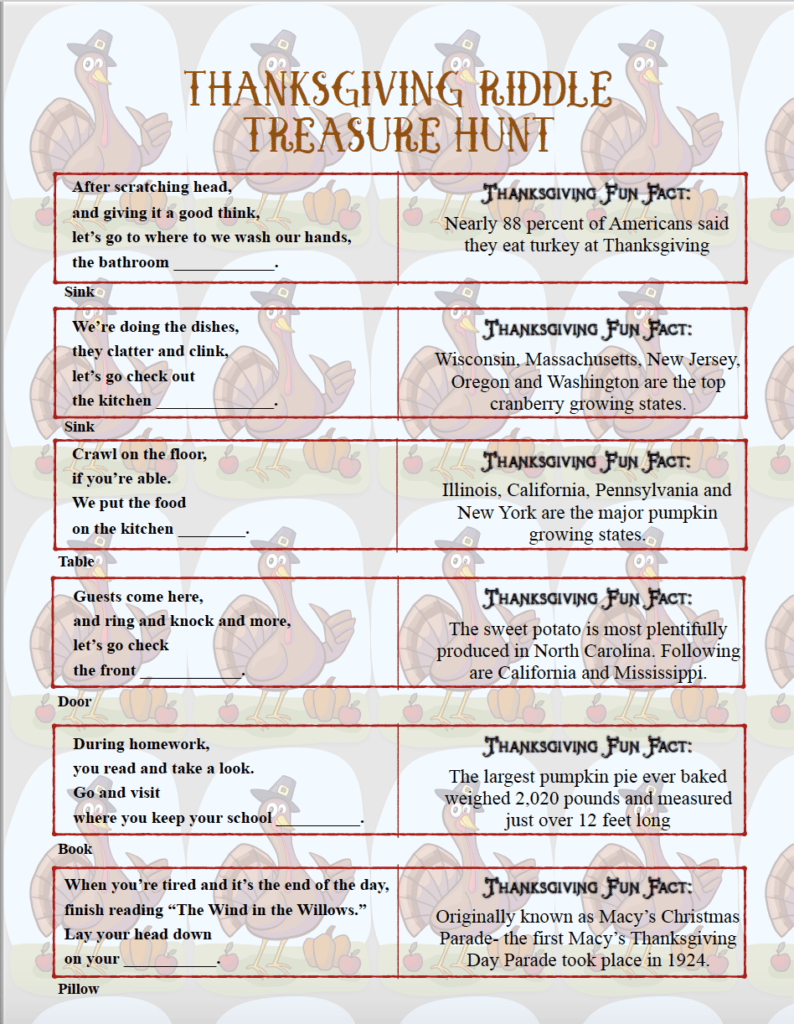 Free Printable Thanksgiving Riddle Treasure Hunt: 18 Mix ...