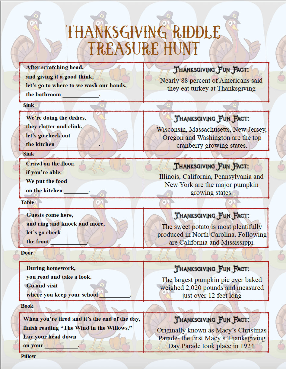 Free Printable Thanksgiving Riddle Treasure Hunt: 18 Mix-and-Match Clues