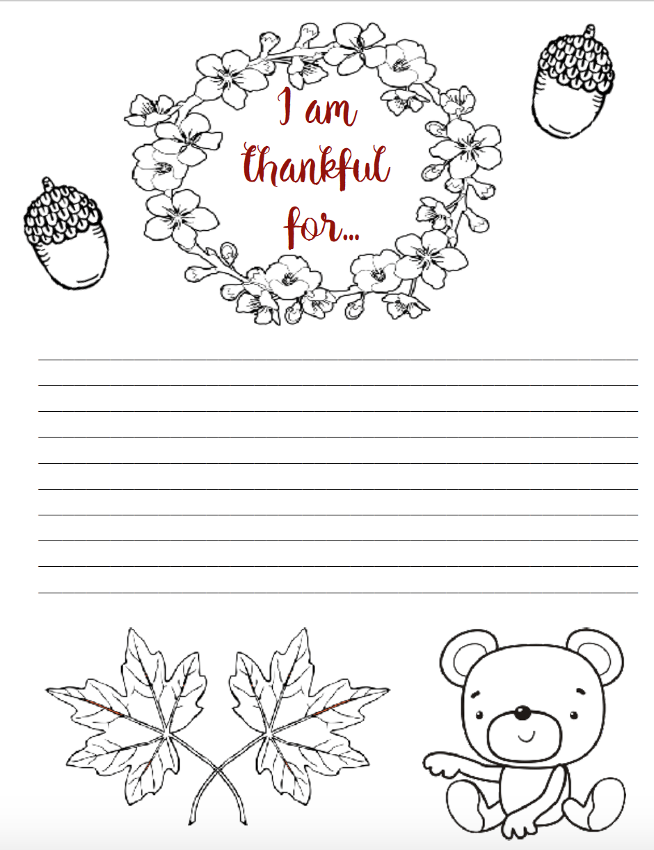Thanksgiving Printables – I Am Thankful for Worksheets