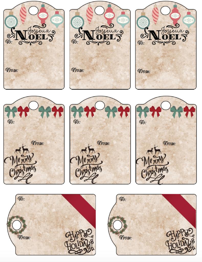 Free Printable Christmas Gift Tags: 13 Designs. Just Print