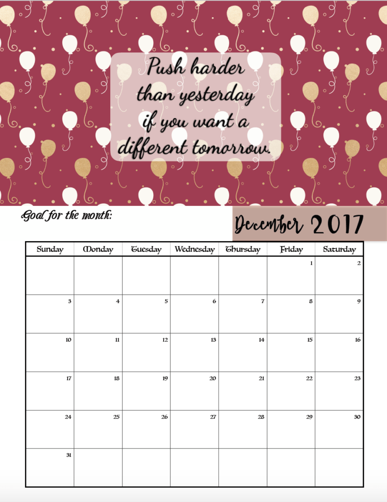 Calendar Quotes For Each Month 2018 : Free printable motivational monthly calendar
