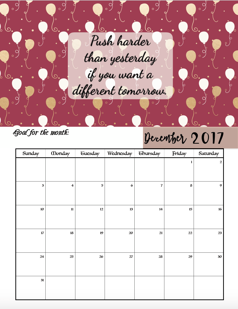 Calendar quotes for every month : Free printable motivational monthly calendar