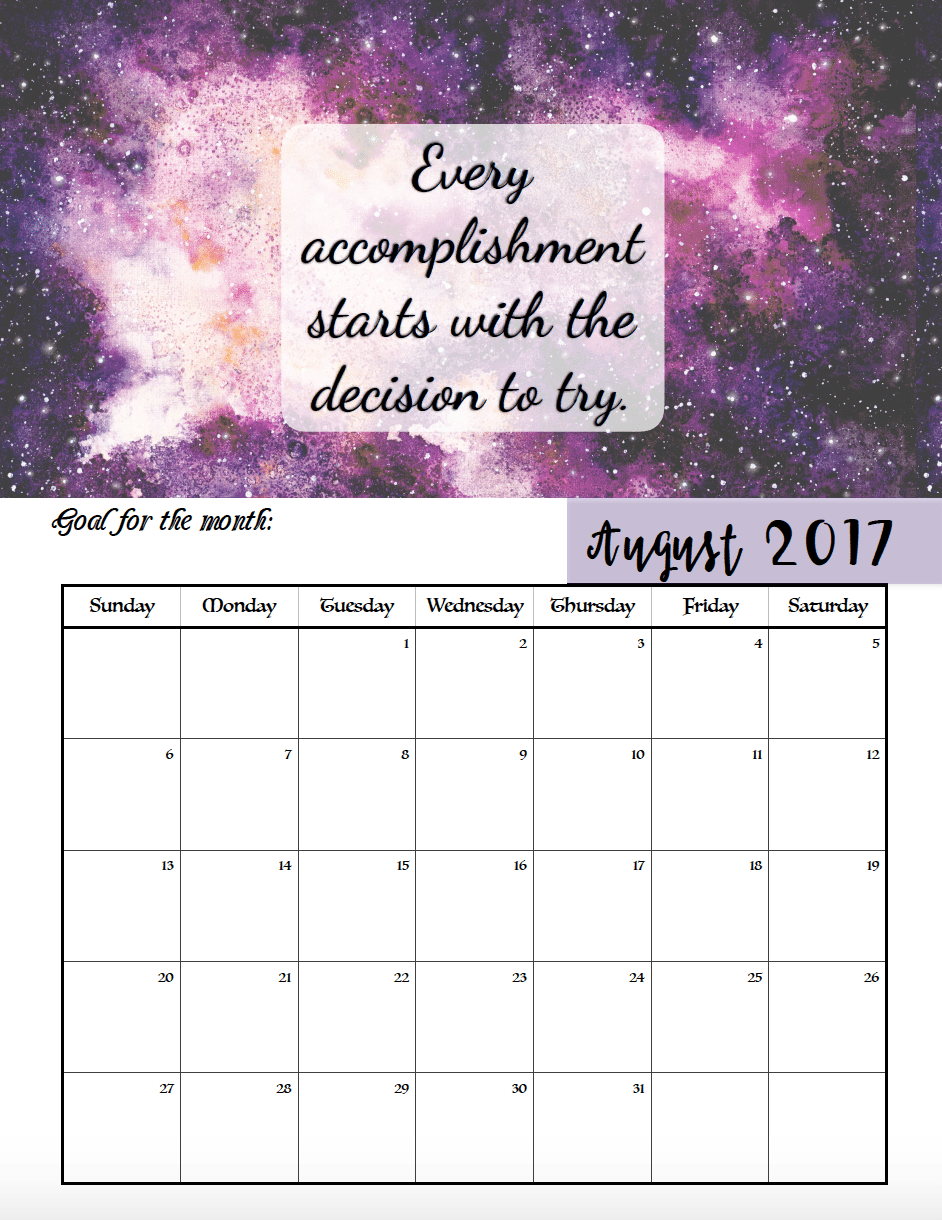 Free Printable 2017 Motivational Monthly Calendar