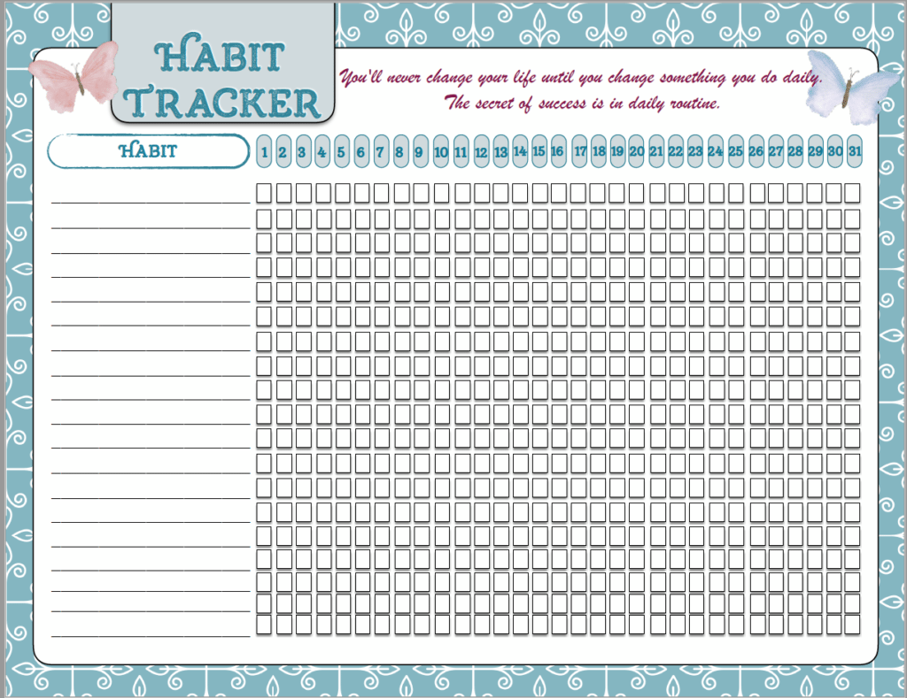 Obsessed image regarding free printable habit tracker