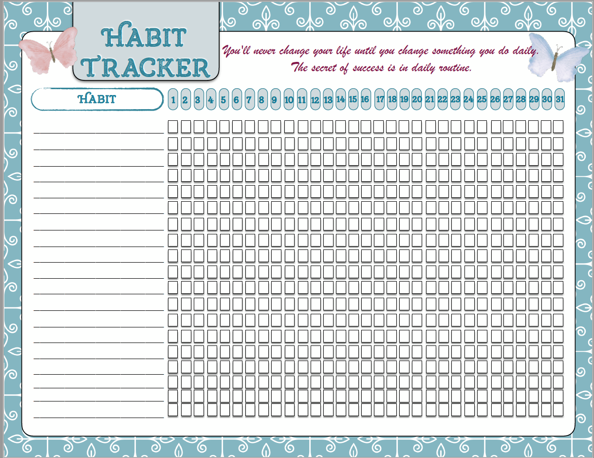 FREE Printable Motivational Posters Habit Tracker