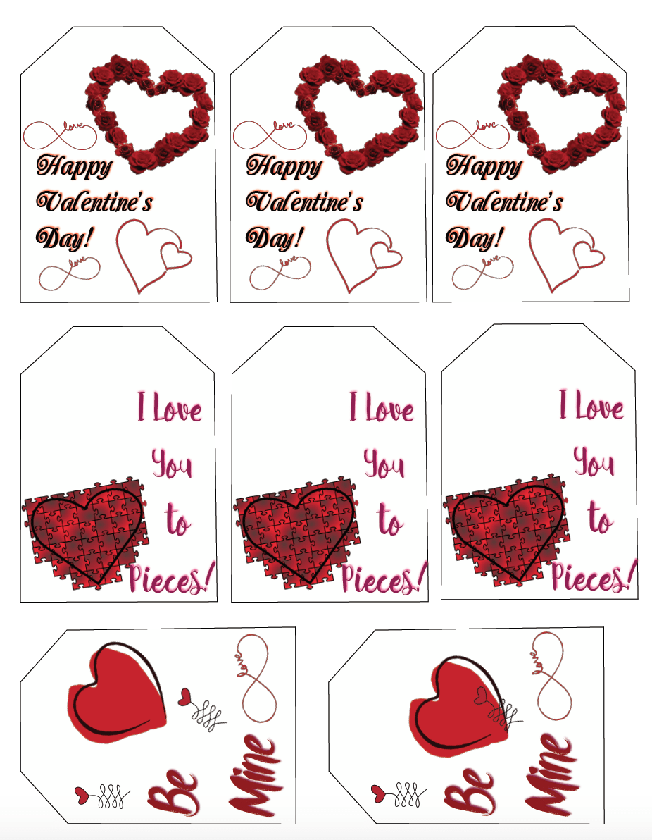 Free Printable Valentine S Day Gift Tags Multiple Designs Sizes